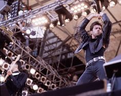 George Michael of Wham on stage Wembley stadium London 28 June 1986 at Wham the Final
