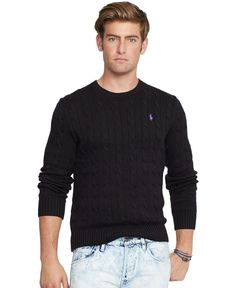 Polo Ralph Lauren Cable-Knit Crewneck Sweater - Sweaters - Men ...