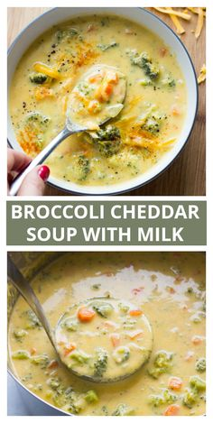 Broccoli Cheddar Soup With Milk – Little Broken Broccoli cheddar soup with olive oil and milk. It's light, thick, and so amazing. Healthy Broccoli Cheese Soup, Broccoli Soup Recipes, Broccoli Cheddar, Healthy Soup, Broccoli Fritters, Broccoli Casserole, Real Food Recipes, Cooking Recipes, Healthy Recipes