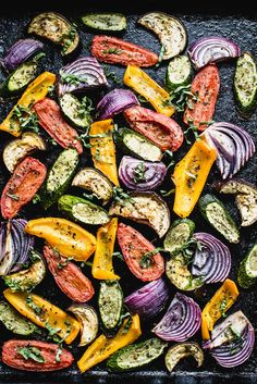 Super easy and flavorful Roasted Mediterranean Veggies will perk up your dinner plate in no time flat Tomatoes zucchini eggplant Healthy Side Dishes, Veggie Dishes, Vegetable Recipes, Vegetarian Recipes, Cooking Recipes, Healthy Recipes, Healthy Food, Roshashana Recipes, Healthy Eating