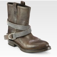 Brunello Cucinelli Leather Beaded Strap Motorcycle Boots