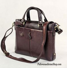 Mike – Brown Leather Laptop Bag  100% Guarantee genuine leather (((FREE SHIPPING)))