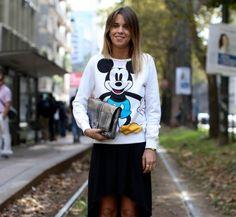 Le sweat Mickey, street style de la Fashion Week printemps été 2014
