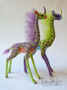 Giraffe dinosaur felted