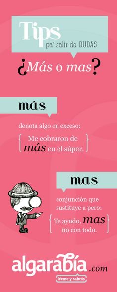 Spanish words: ¿Más o mas? Spanish Grammar, Spanish Vocabulary, Spanish Words, Spanish Language Learning, Spanish Teacher, Spanish Classroom, How To Speak Spanish, Teaching Spanish, Learn Spanish