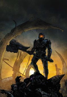 Halo Uprising cover art by Alex Maleev. Halo Game, Halo 3, Video Game Art, Video Games, Halo Spartan, Halo Master Chief, Halo Collection, Halo Reach, Sci Fi Comics