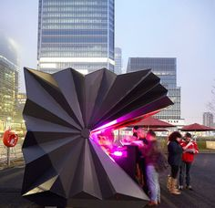 Geometric Folding Metal Kiosks Inspired by Origami via My Modern Metropolis (Twitter)