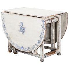 Delft Inspired Painted Drop-Leaf Table   From a unique collection of antique and modern drop-leaf and pembroke tables at https://www.1stdibs.com/furniture/tables/drop-leaf-tables-pembroke-tables/