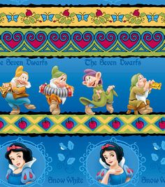 Snow White & the Seven 7 Dwarfs Cotton Cartoon Disney Licensed Fabric BTY. $8.75, via Etsy.