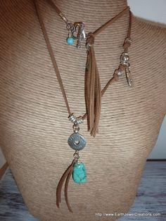 Turquoise & Suede Double Pendant - handmade crystal energy gemstone jewellery Earth Jewel Creations Australia