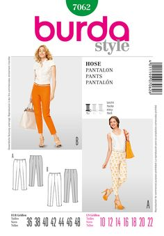 Current pattern, slender basic pants in 2 lengths with side zip, waist facings and ankle slit:  Burda 7062