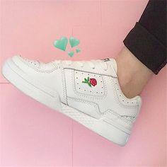 Ulzzang Harajuku кроссовки роза Вышивка Unif Корейский белый обуви толстые ботинки студентка осень тренеров