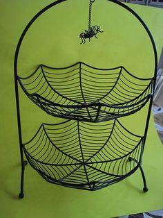 Large Metal Halloween 2 Tiered Bowl Spider Web Hanging Spider