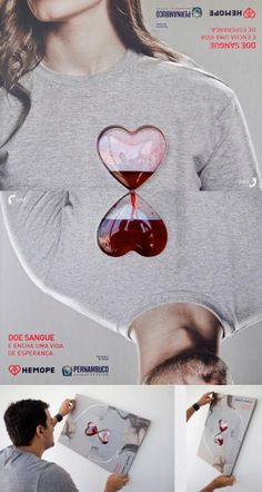 PSA for blood donation. Clever use of flipping someone else upside down and making the hearts look like an hourglass.