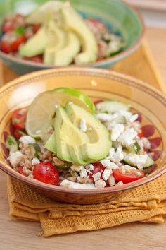 Farro, Avocado, Cucumber, and Cherry Tomato Salad with Feta