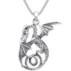 Shop for Carolina Glamour Collection Sterling Silver Winged Sea Serpent Dragon Necklace. Free Shipping on orders over $45 at Overstock.com - Your Online Jewelry Destination! Get 5% in rewards with Club O!