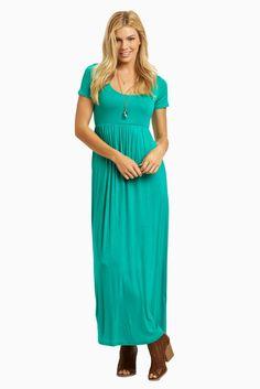 Emerald-Green-Solid-Short-Sleeve-Maxi-Dress