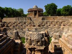 Eleventh-century Sun Temple and tank built by King Bhimsev of the Solanki dynasty at Modhera, Gujarat, India...!!!