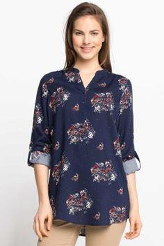Çiçek Desenli Tünik Floral Tops, Blue, Women, Fashion, Moda, Top Flowers, Fashion Styles, Fashion Illustrations
