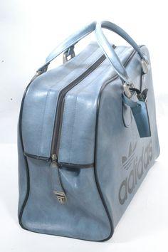Vintage Adidas Peter Black Luggage Bag by BrickVintage Adidas Bags, Bowling Bags, Light Blue Color, Vintage Adidas, Blue Bags, Vintage Accessories, Luggage Bags, 1970s, Studs
