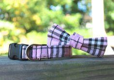 Pink Plaid Dog Collar/  Bow Tie Collar