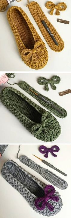 Slippers With a Bow – Design Peak Pantoffeln mit Schleife – Design Peak Crochet Clothing Mode Crochet, Crochet Baby, Knit Crochet, Knitting Patterns, Crochet Patterns, Bow Design, Peak Design, Crochet Slippers, Baby Slippers