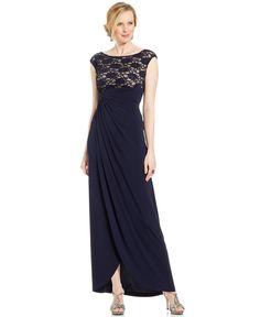 Connected Petite Sequin Lace Faux-Wrap Gown - Dresses - Women - Macy's