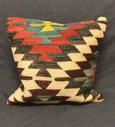 Kilim Rug Cushion, Kilim Pillow, Handmade Cushion, Ethnic Pillow, Turkish Kilim Pillow, Vintage Pillow, Boho Pillow, Turkish Pillow Case by TurkishBohoChic on Etsy