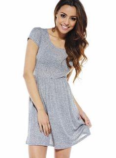 Gray Mini Dress - Gray Jersey Knit Skater Dress