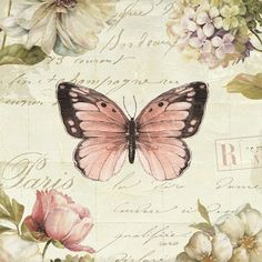 Tangletown Fine Art 'Marche de Fleurs Butterfly I' by Lisa Audit Graphic Art on Wrapped Canvas Vintage Butterfly, Butterfly Art, Butterflies, Decoupage Vintage, Decoupage Paper, Canvas Artwork, Canvas Prints, Art Prints, Big Canvas