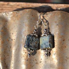 Square Czech glass dangle earrings. by OneZenFlower on Etsy