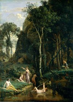 Camille Corot - Diana and Actaeon. Tags: diana, artemis, actaeon, aktaion, transformations,.