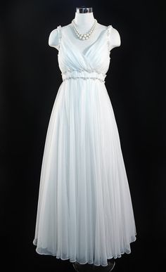 ec7de32ac24b Vintage 1960s MIKE BENET Formal White Chiffon Pearl Beaded Angelic Princess  Bridal Wedding Party Evening DRESS Gown Full Sweep Skirt Small S