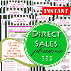 Direct Sales Planner Printables - INSTANT & EDITABLE - Work at Home Printables - Work Organizers - 22 Documents