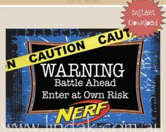 Nerf Wars Party Welcome Sign | INSTANT DOWNLOAD Ready to print PDF File