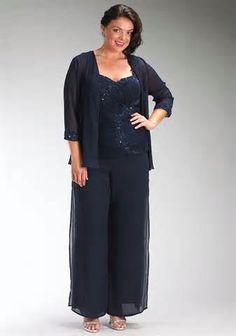b0c1528c548 Plus size mother of the bride pants suits pictures Roupas Plus Size