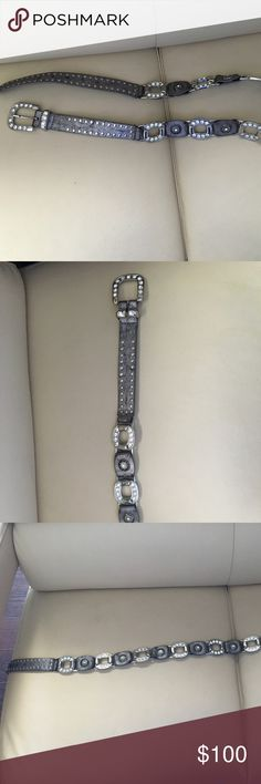 Cassidi Pewter Glitzy Rhinestone Belt 112cm New Imported from Italy, shows a touch of wear simply from being in the closet Cassidi Accessories Belts