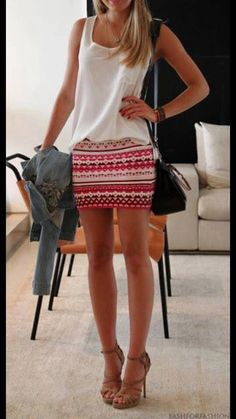 I like this but I'd personally like the skirt to be at lest knee length. (LoLoBu - Women look, Fashion and Style Ideas and Inspiration, Dress and Skirt Look) Looks Style, Style Me, Daily Style, Latest Fashion For Women, Fashion Women, Fashion 2014, Mode Outfits, Fashion Outfits, Fashion Ideas