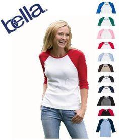 Bella Women's Baby Rib Contrast 3/4-Sleeve Raglan T-Shirt: http://www.amazon.com/Bella-Womens-Contrast-4-Sleeve-T-Shirt/dp/B001SHRXEU/?tag=dirtyboy404-20