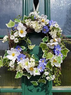 Hey, I found this really awesome Etsy listing at https://www.etsy.com/uk/listing/607643155/spring-floral-wreath-country-wreath-blue