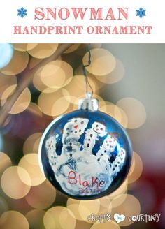 Kids Christmas Craft: Snowman Handprint Ornament: 4 Easy-to Make DIY Kid Christmas Ornaments