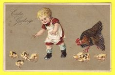 Old Embossed Easter Postcard with Child  Rooster and Chicks Divided Back Era #Easter