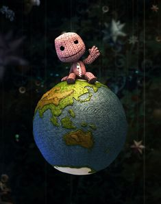 View an image titled 'Sackboy & Planet Earth Art' in our LittleBigPlanet art gallery featuring official character designs, concept art, and promo pictures. Little Big Planet, Small Planet, Planet Drawing, Planet Cake, Character Art, Character Design, Planet Tattoos, Planets Wallpaper, Felt Hearts