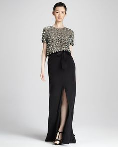 ShopStyle: Naeem KhanSequined Combo Gown