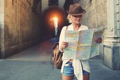 Cheerful woman wanderer with trendy look searching direction on location map while traveling abroad in summer, happy female tourist searching road to hotel on atlas in a foreign city during vacation Business Visa, Business Travel, Location Map, Travel Companies, Learning, Pains, Play Hard, Work Hard, Tourism