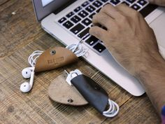 Cordito cord wrapper, Knick Knack Nacho leather pouch and Cord Taco by This Is Ground discovered by The Grommet. Gorgeously simple solutions for your electronic cords and clutter crafted from premium quality leather.