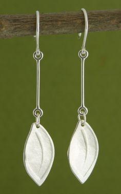 Embossed Leaf Earrings handmade by Garden of Silver.