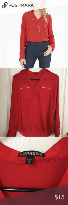 Express portifino zip shirt NWOT Red portofino Express top with gold zipper detail. 100% polyester. Very cute, but I have one almost exactly like it so don't need Express Tops Button Down Shirts