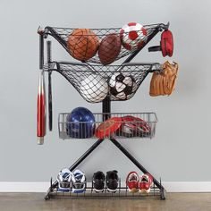 The X-Rack from Brookstone is a good storage solution if you have a small amount of sports equipment.