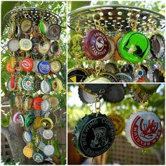 Handmade Random Beer Bottle Cap Wind Chime by KraftyKatreena